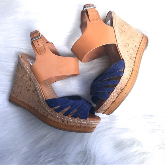 322f00a6b359 Dolce Vita Shoes - Suede Royal   Tan Leather Wedges 6.5